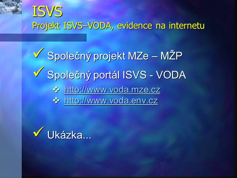 ISVS Projekt ISVS–VODA, evidence na internetu