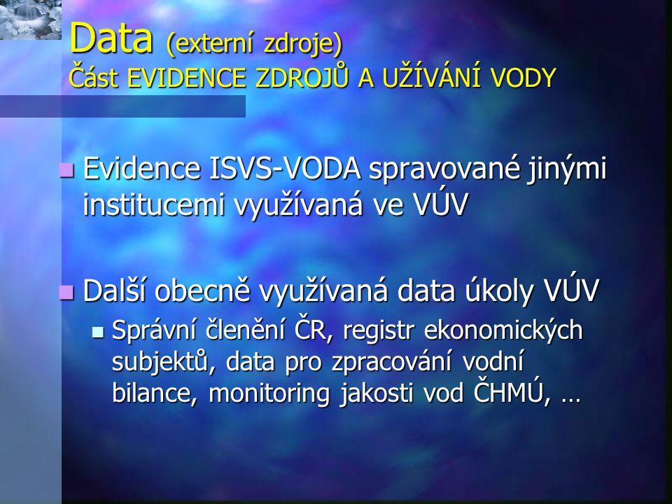 Data (externí zdroje) Část EVIDENCE ZDROJŮ A UŽÍVÁNÍ VODY