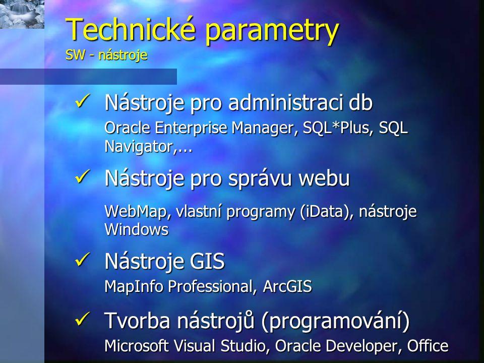 Technické parametry SW - nástroje