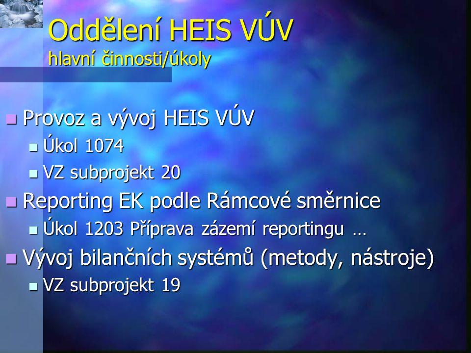 Oddělení HEIS VÚV hlavní činnosti/úkoly