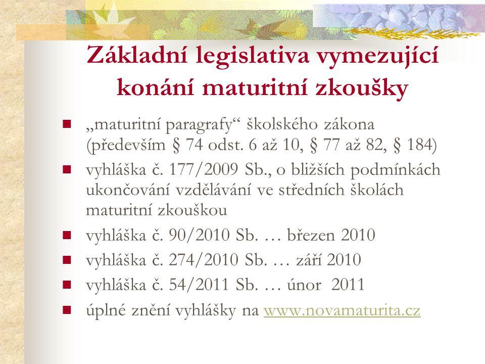 Základní legislativa vymezující konání maturitní zkoušky