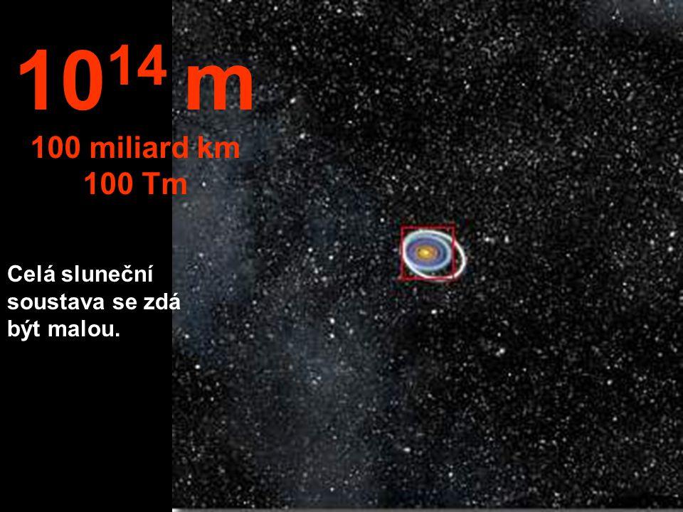 1014 m 100 miliard km 100 Tm Celá sluneční soustava se zdá být malou.