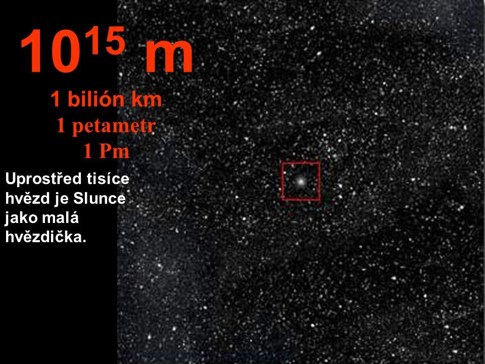 1015 m 1 bilión km 1 petametr 1 Pm Uprostřed tisíce hvězd je Slunce jako malá hvězdička.