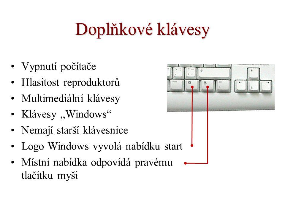 Doplňkové klávesy Vypnutí počítače Hlasitost reproduktorů
