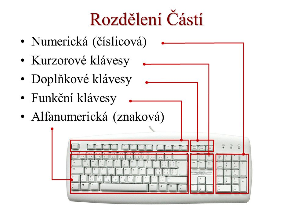 Rozdělení Částí Numerická (číslicová) Kurzorové klávesy