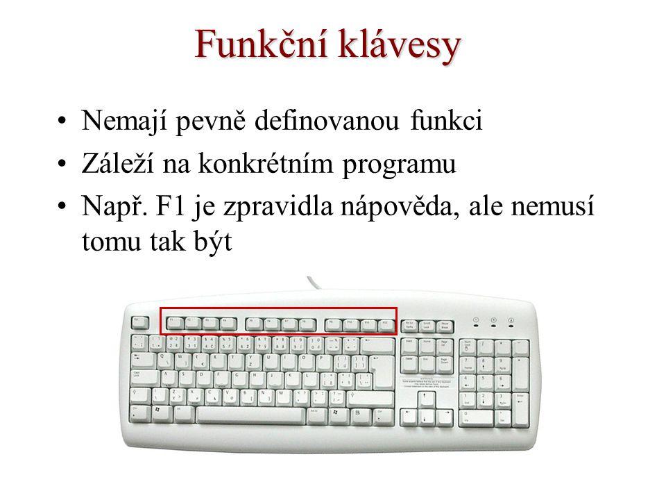 Funkční klávesy Nemají pevně definovanou funkci