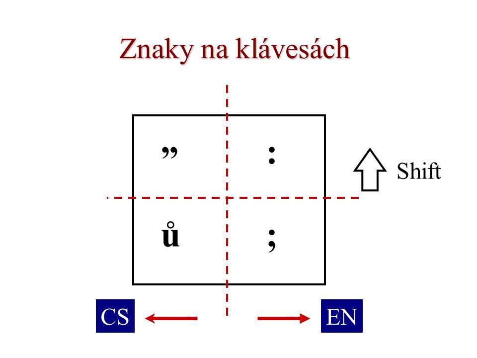 Znaky na klávesách : Shift ů ; CS EN
