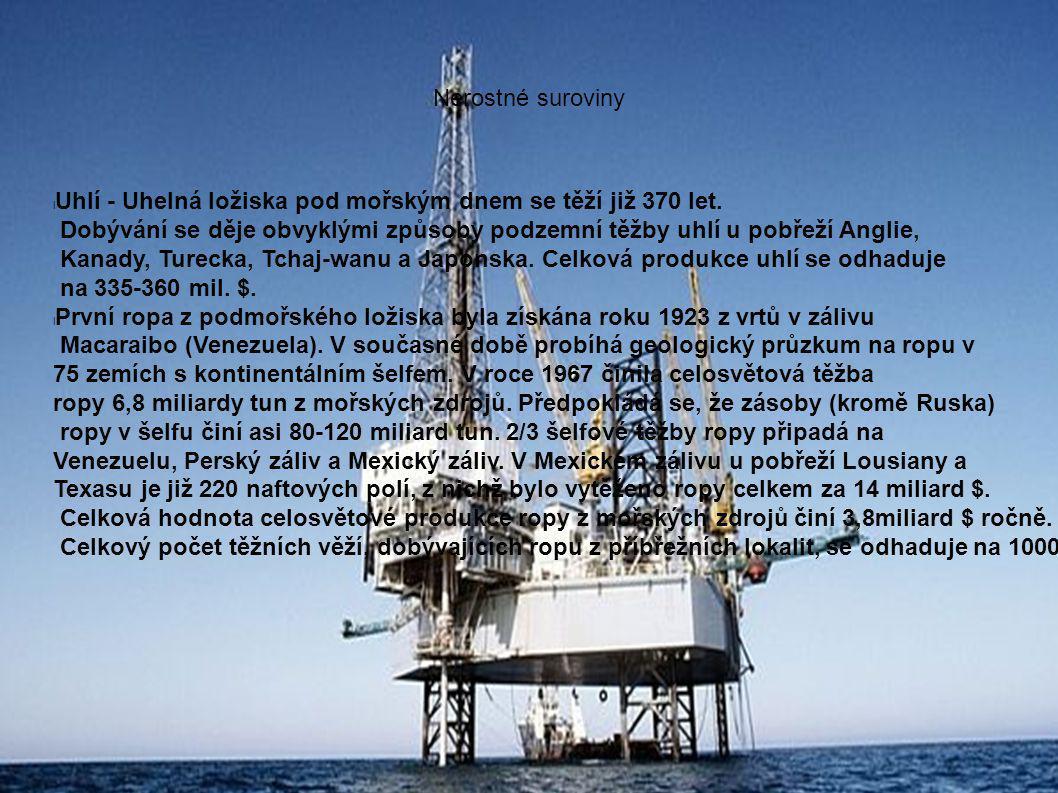 Nerostné suroviny Uhlí - Uhelná ložiska pod mořským dnem se těží již 370 let.