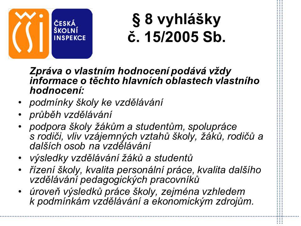 § 8 vyhlášky č. 15/2005 Sb. Zpráva o vlastním hodnocení podává vždy informace o těchto hlavních oblastech vlastního hodnocení:
