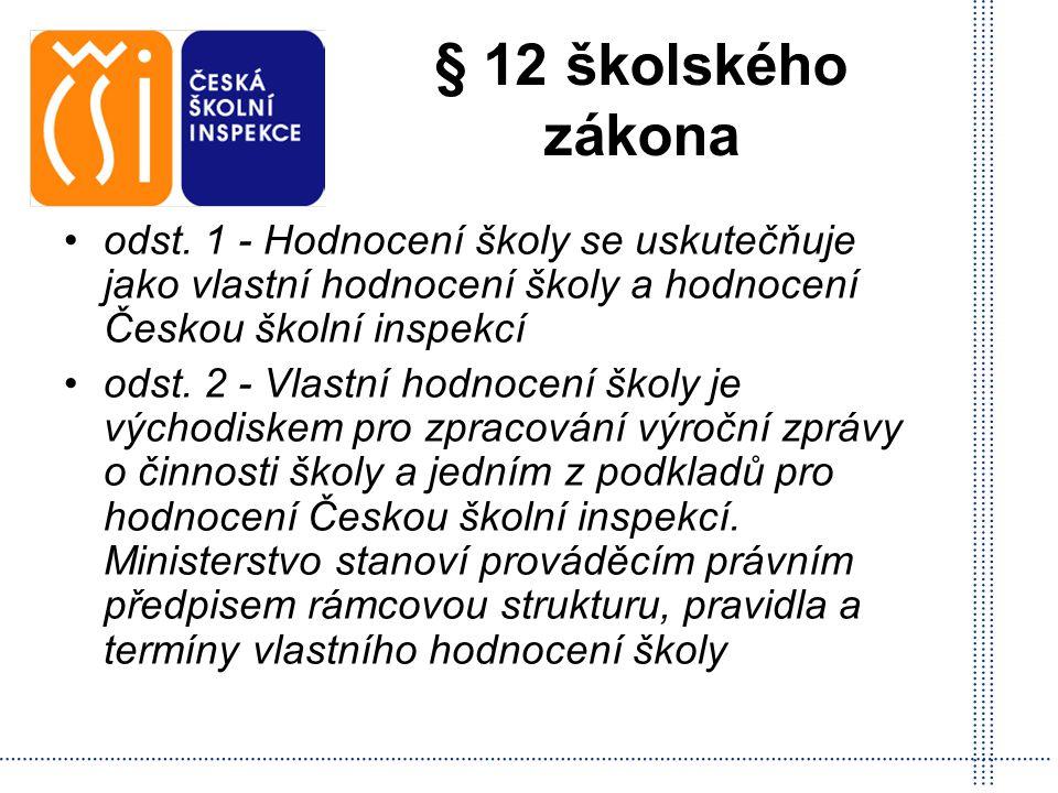 § 12 školského zákona odst. 1 - Hodnocení školy se uskutečňuje jako vlastní hodnocení školy a hodnocení Českou školní inspekcí.
