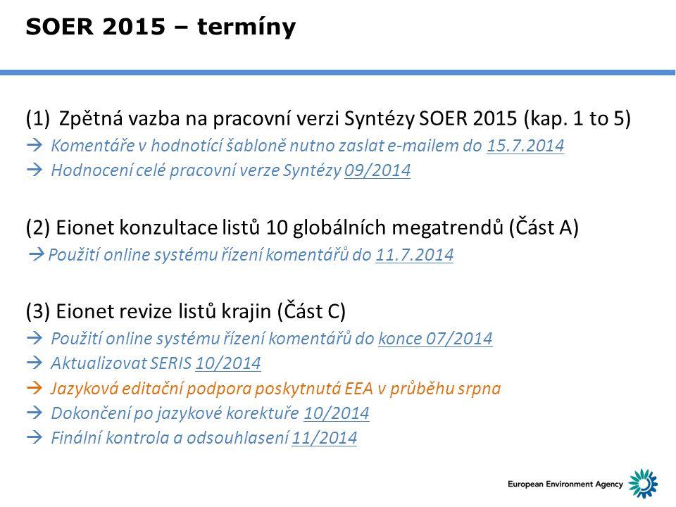 Zpětná vazba na pracovní verzi Syntézy SOER 2015 (kap. 1 to 5)