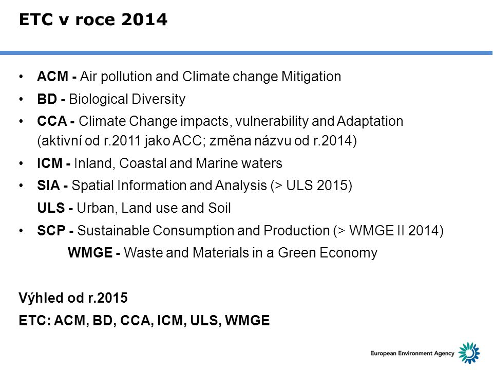ETC v roce 2014 ACM - Air pollution and Climate change Mitigation