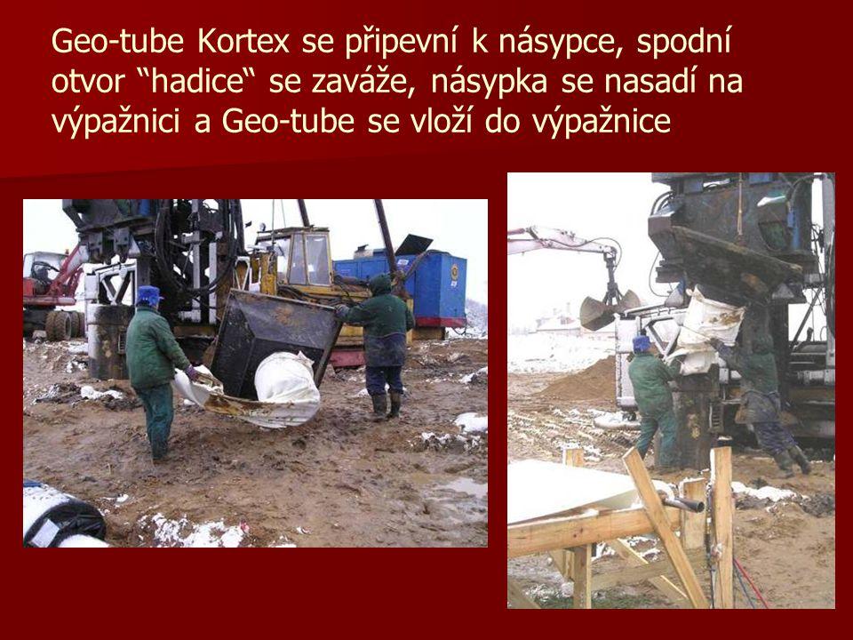 Geo-tube Kortex se připevní k násypce, spodní otvor hadice se zaváže, násypka se nasadí na výpažnici a Geo-tube se vloží do výpažnice