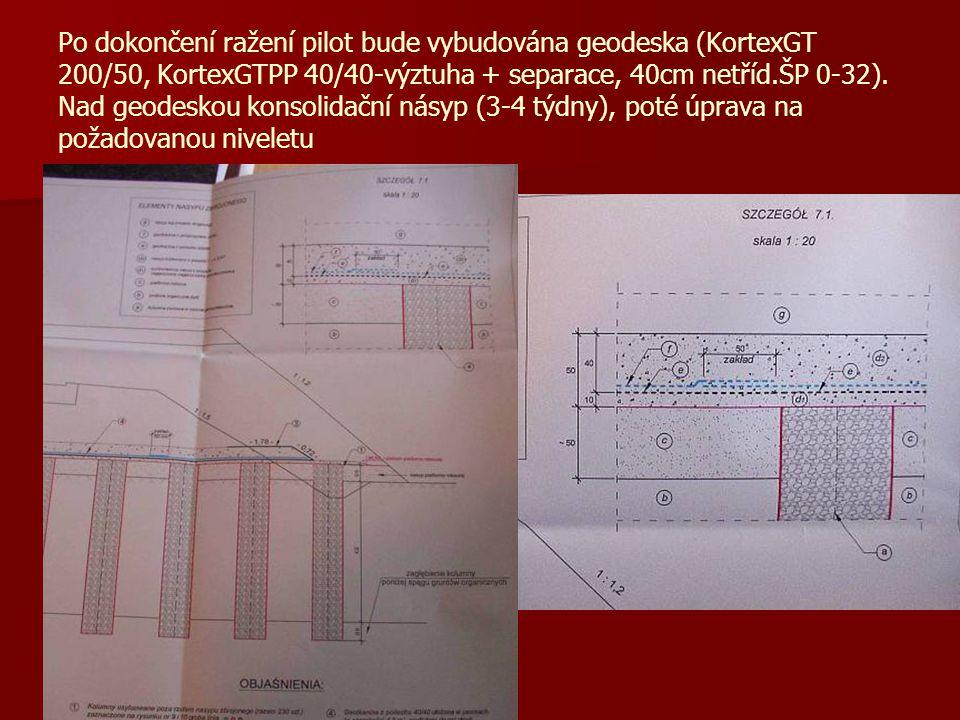 Po dokončení ražení pilot bude vybudována geodeska (KortexGT 200/50, KortexGTPP 40/40-výztuha + separace, 40cm netříd.ŠP 0-32).