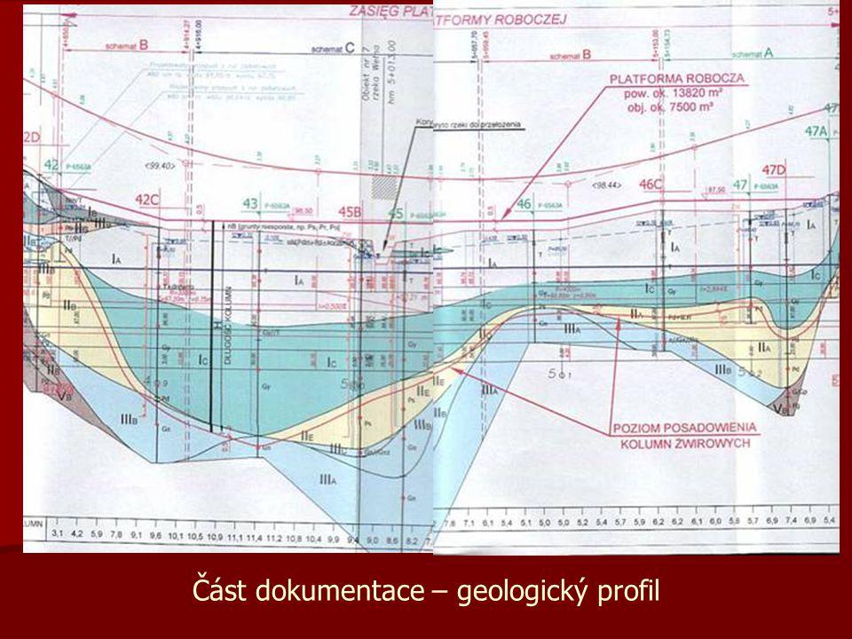 Část dokumentace – geologický profil