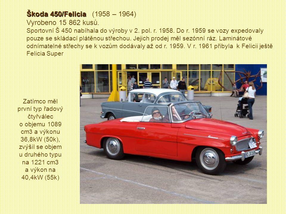 Škoda 450/Felicia (1958 – 1964) Vyrobeno 15 862 kusů.