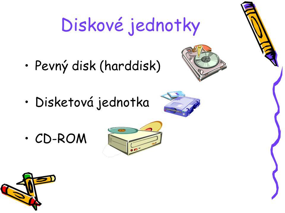 Diskové jednotky Pevný disk (harddisk) Disketová jednotka CD-ROM