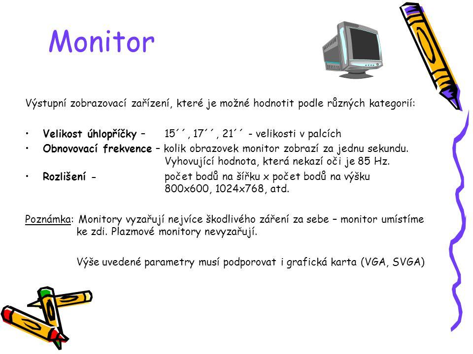 Monitor Výstupní zobrazovací zařízení, které je možné hodnotit podle různých kategorií: