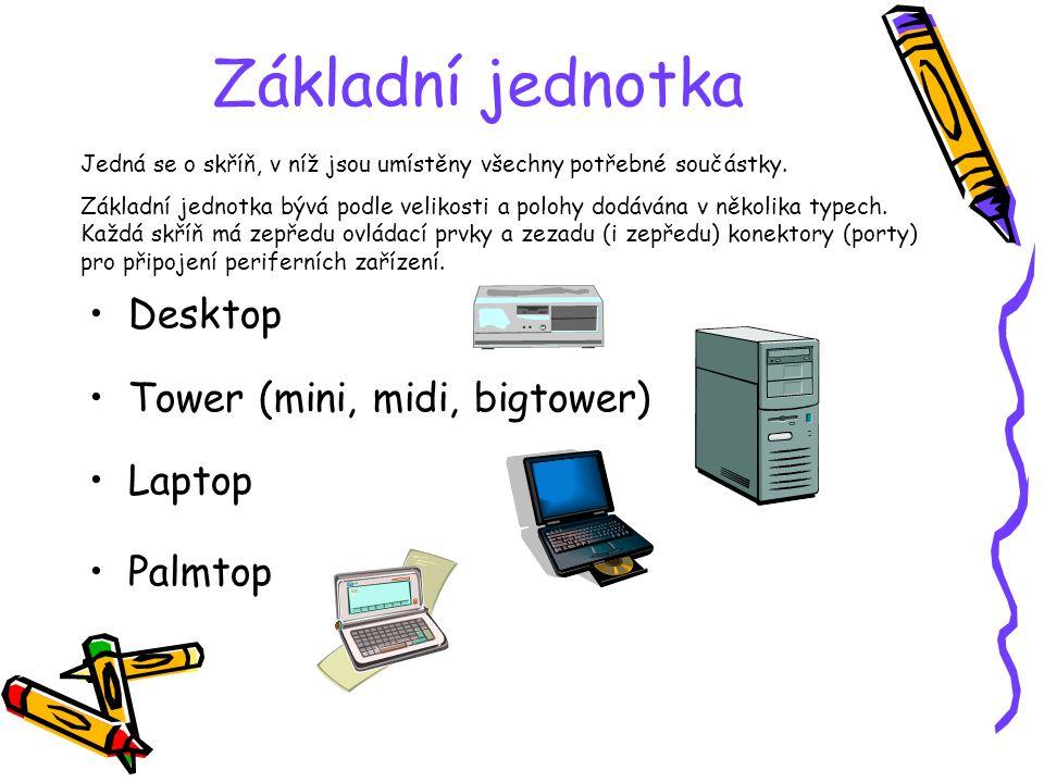 Základní jednotka Desktop Tower (mini, midi, bigtower) Laptop Palmtop