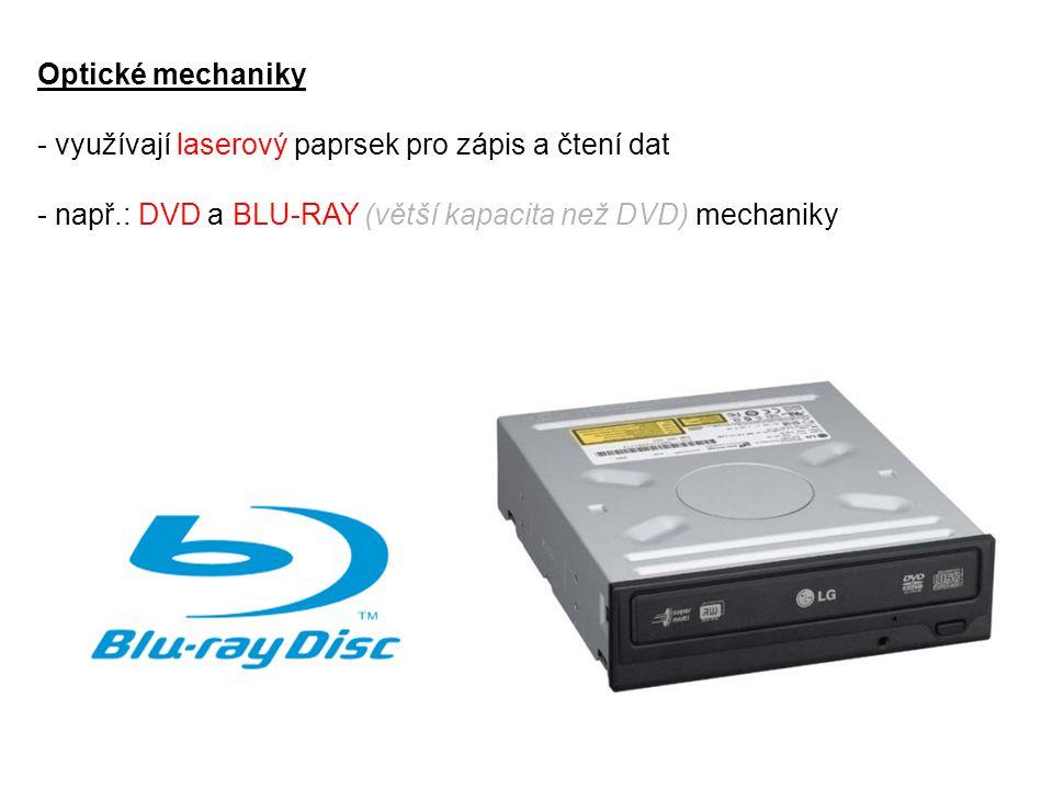 Optické mechaniky využívají laserový paprsek pro zápis a čtení dat.