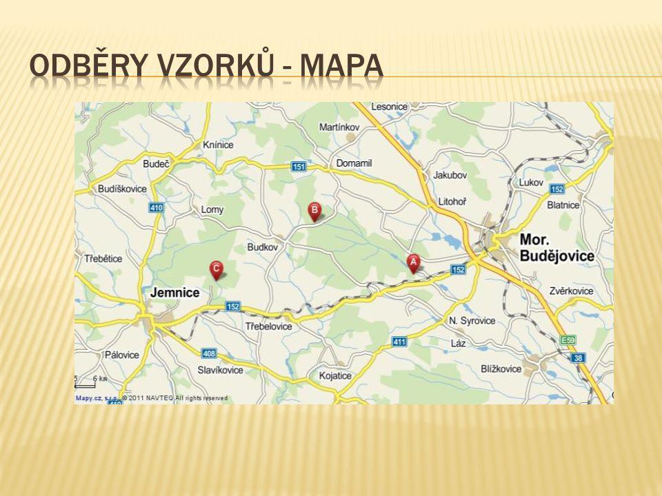 Odběry vzorků - mapa