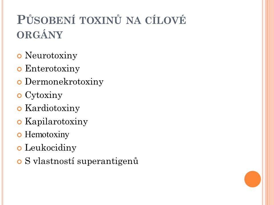 Působení toxinů na cílové orgány