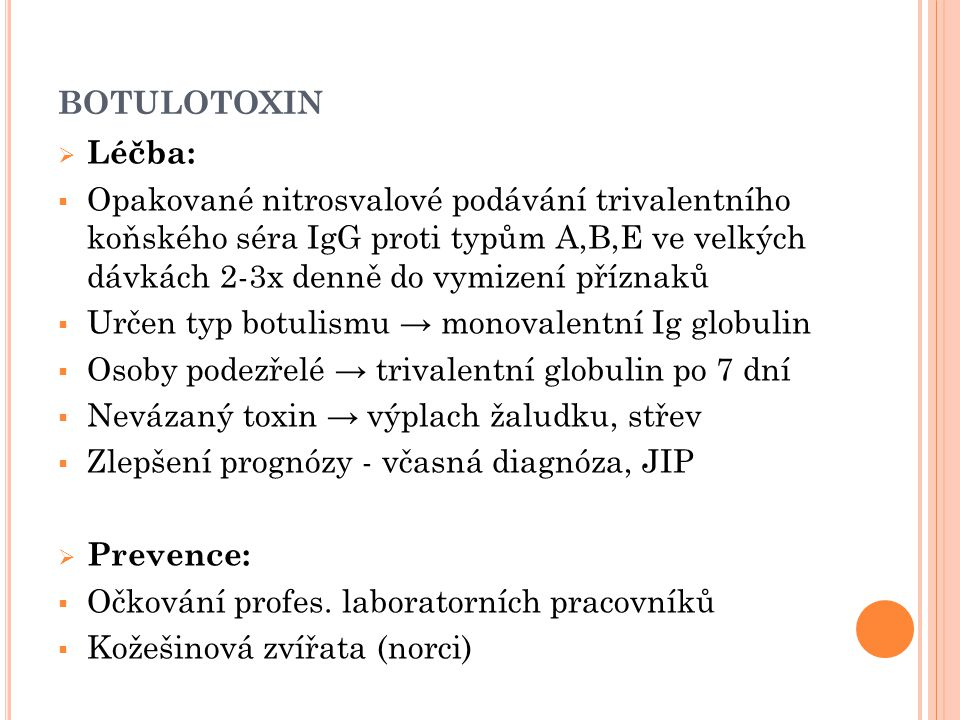 botulotoxin Léčba:
