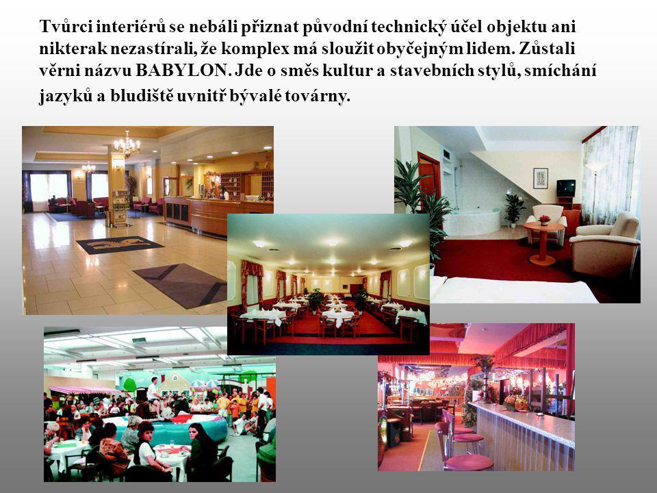 Tvůrci interiérů se nebáli přiznat původní technický účel objektu ani nikterak nezastírali, že komplex má sloužit obyčejným lidem.