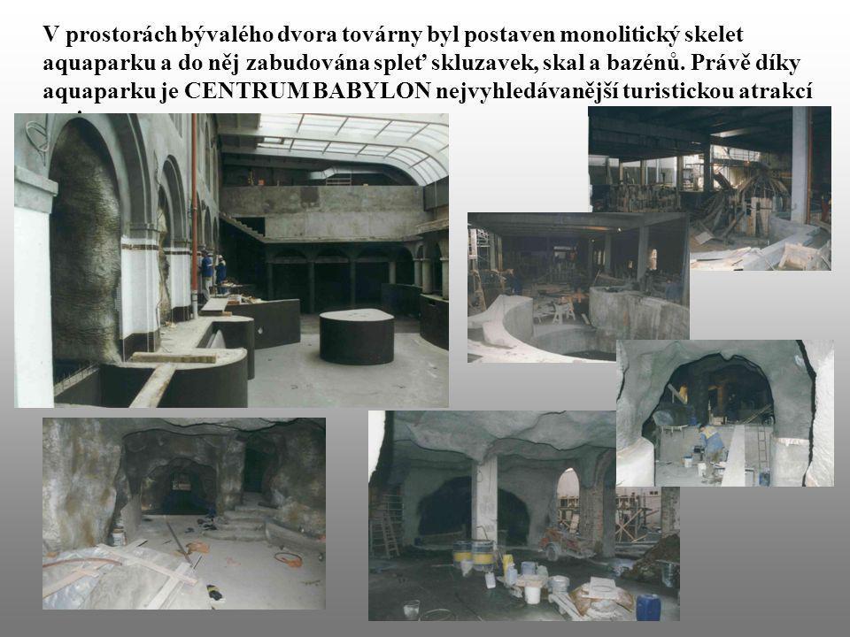V prostorách bývalého dvora továrny byl postaven monolitický skelet aquaparku a do něj zabudována spleť skluzavek, skal a bazénů.