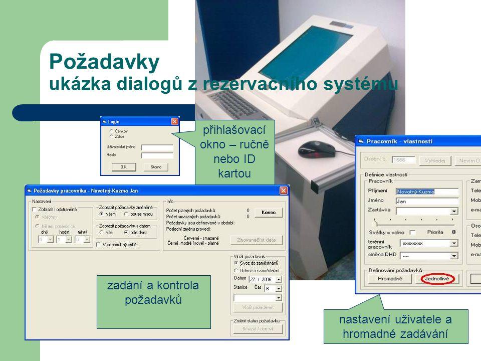 Požadavky ukázka dialogů z rezervačního systému