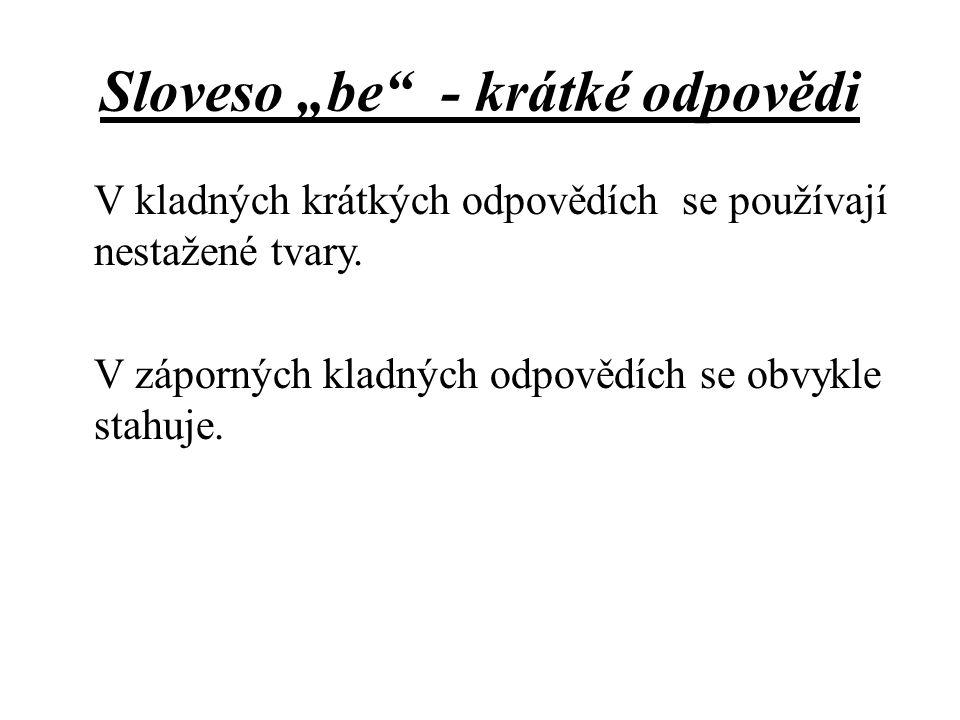"""Sloveso """"be - krátké odpovědi"""