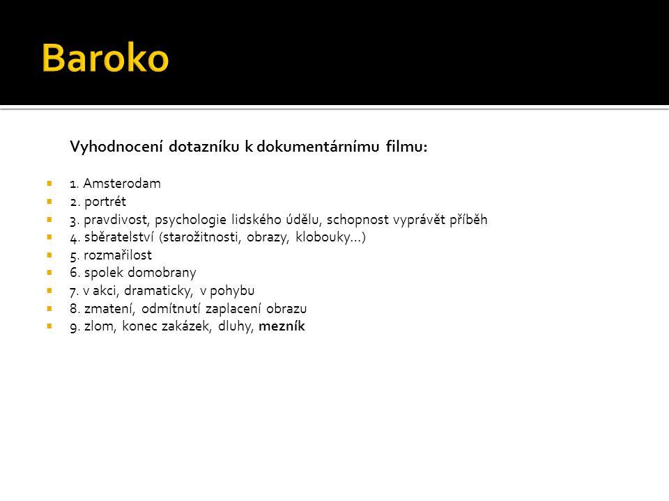 Baroko Vyhodnocení dotazníku k dokumentárnímu filmu: 1. Amsterodam