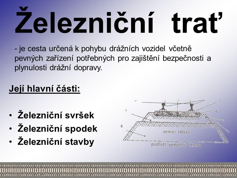 Železniční trať Její hlavní části: Železniční svršek Železniční spodek
