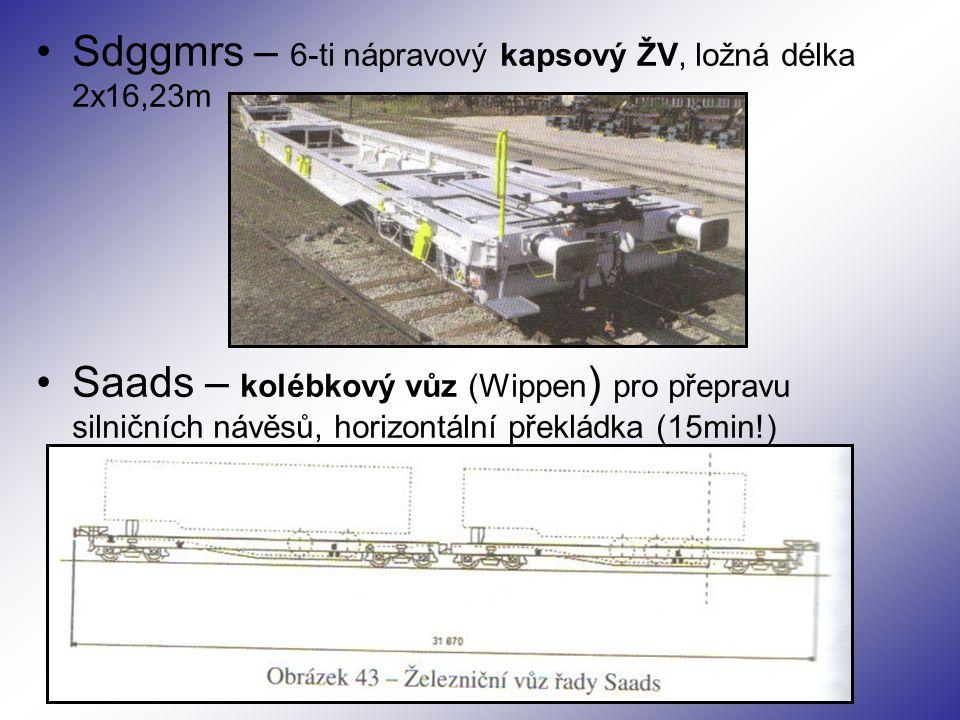 Sdggmrs – 6-ti nápravový kapsový ŽV, ložná délka 2x16,23m