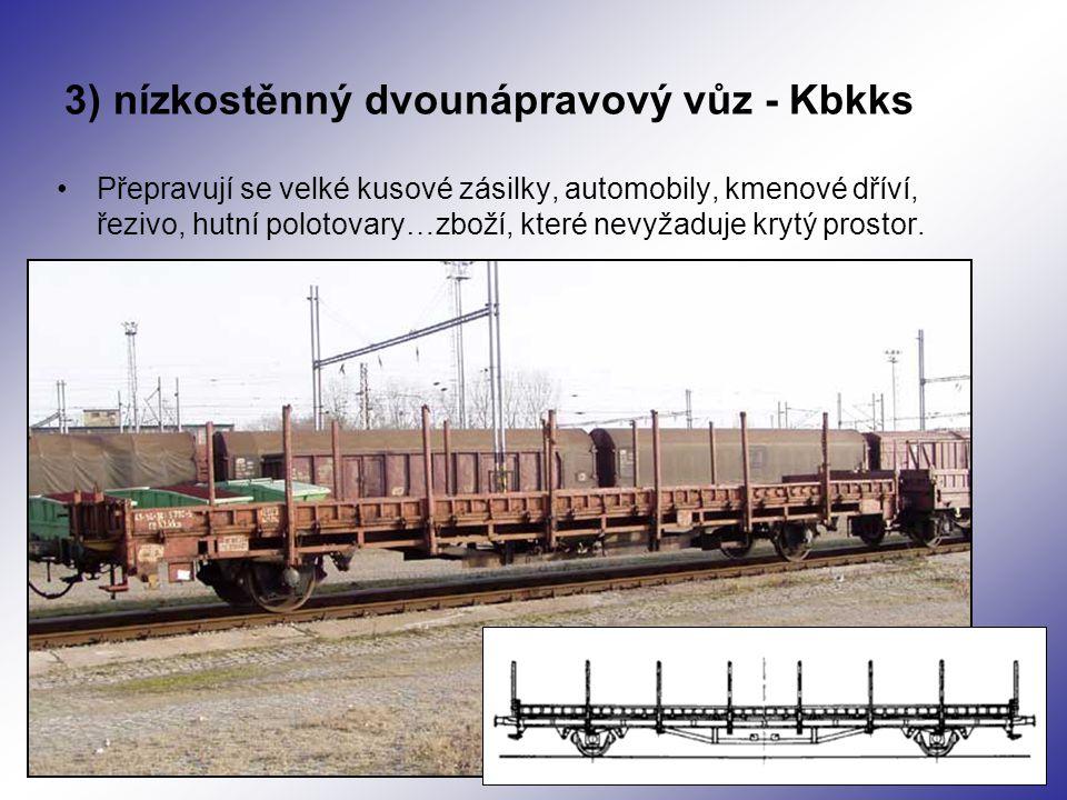 3) nízkostěnný dvounápravový vůz - Kbkks