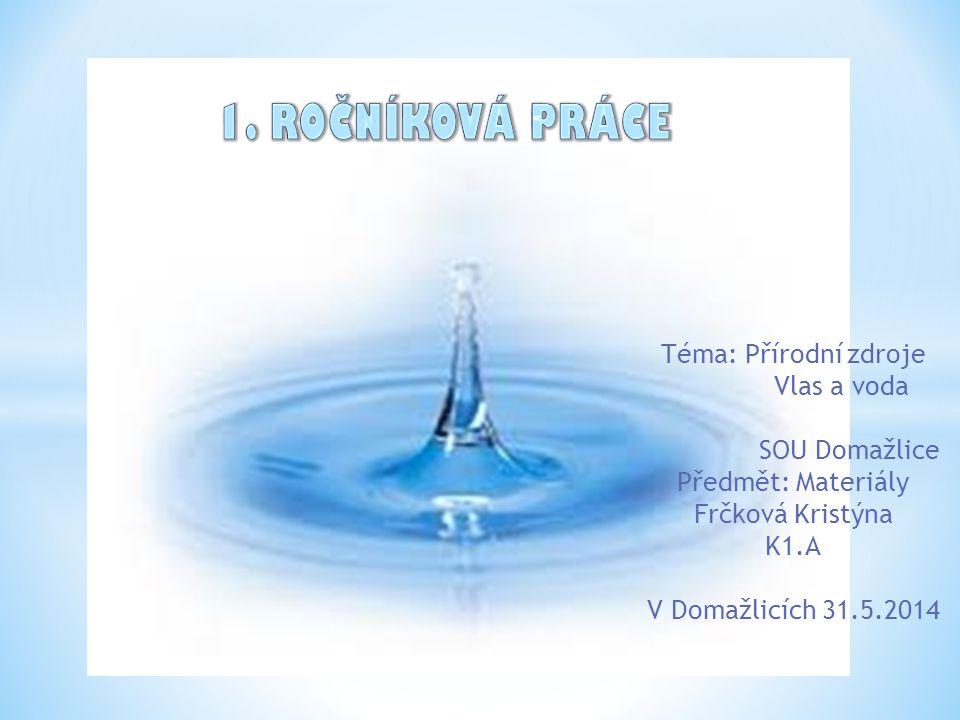 11ro 1. ROČNÍKOVÁ PRÁCE Téma: Přírodní zdroje Vlas a voda