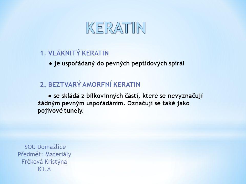 KERATIN 1. VLÁKNITÝ KERATIN 2. BEZTVARÝ AMORFNÍ KERATIN