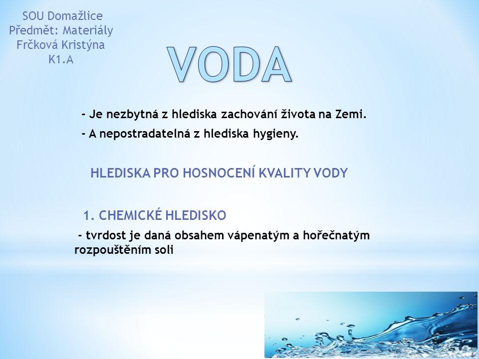 VODA HLEDISKA PRO HOSNOCENÍ KVALITY VODY 1. CHEMICKÉ HLEDISKO