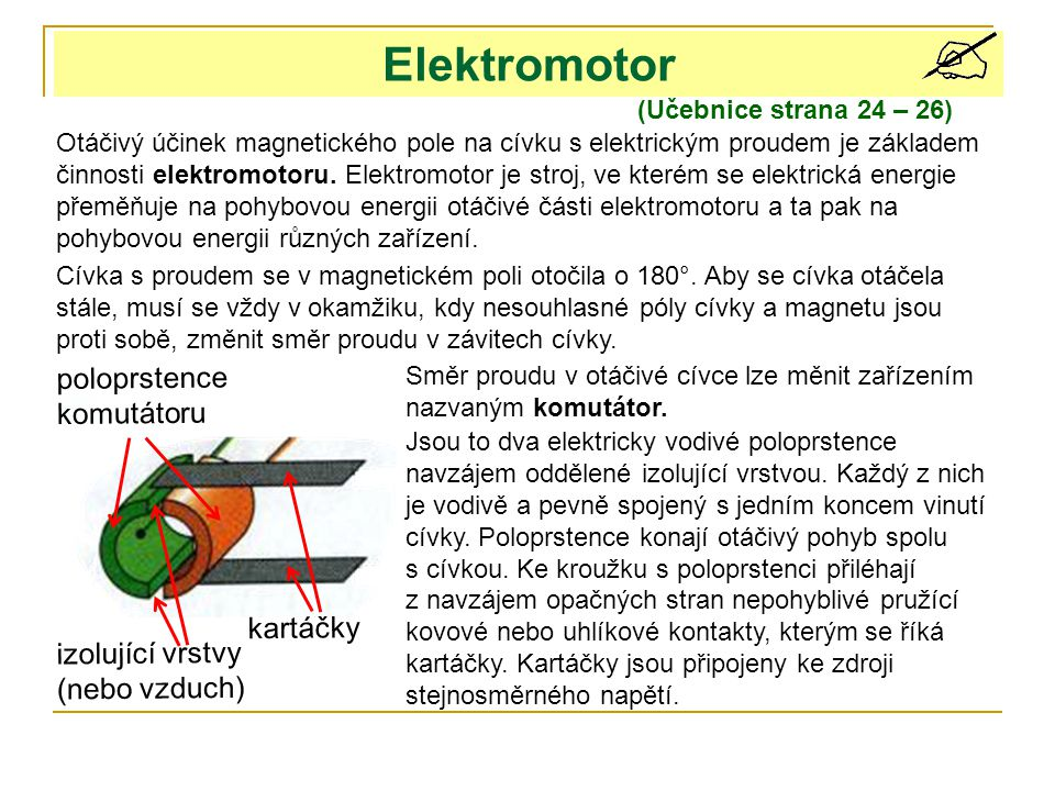 Elektromotor poloprstence komutátoru kartáčky