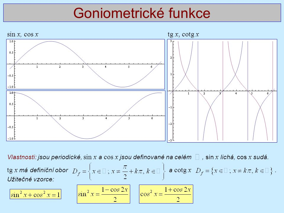 Goniometrické funkce sin x, cos x tg x, cotg x