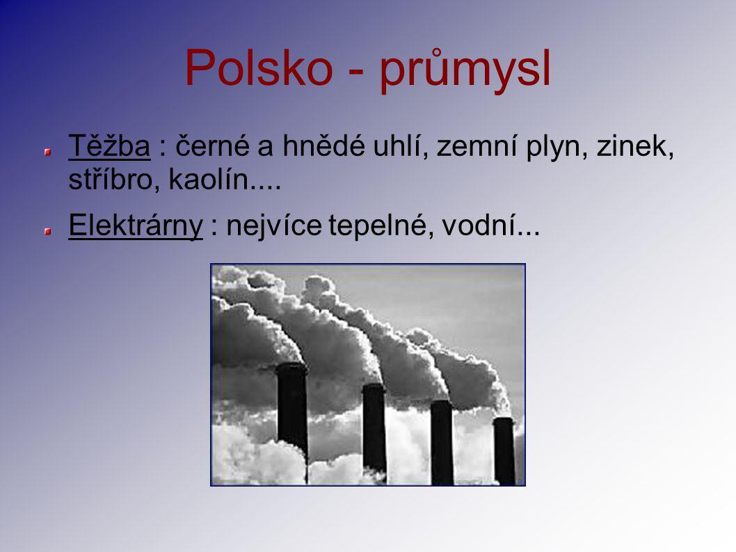 Polsko - průmysl Těžba : černé a hnědé uhlí, zemní plyn, zinek, stříbro, kaolín....
