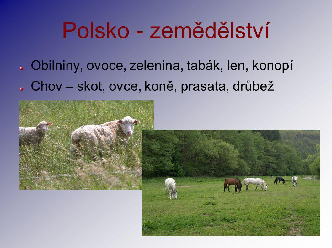 Polsko - zemědělství Obilniny, ovoce, zelenina, tabák, len, konopí