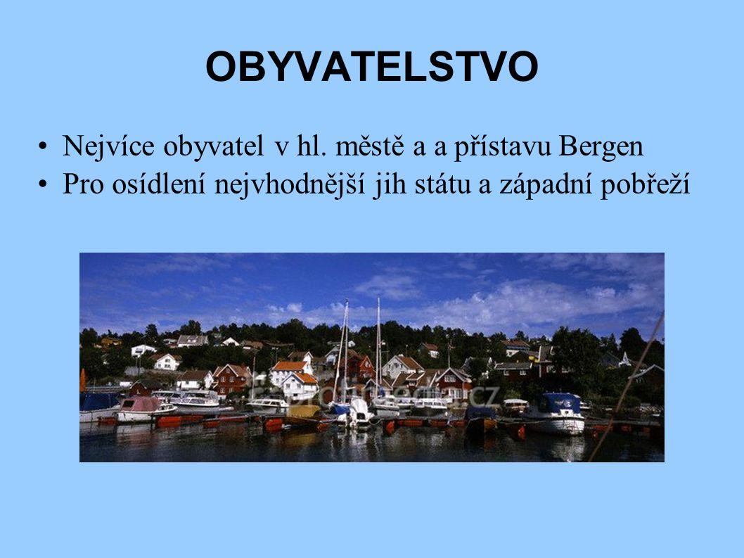 OBYVATELSTVO Nejvíce obyvatel v hl. městě a a přístavu Bergen