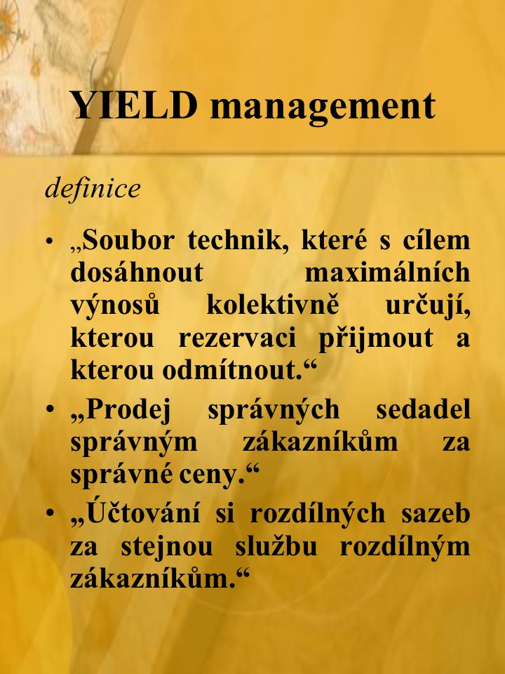 YIELD management definice