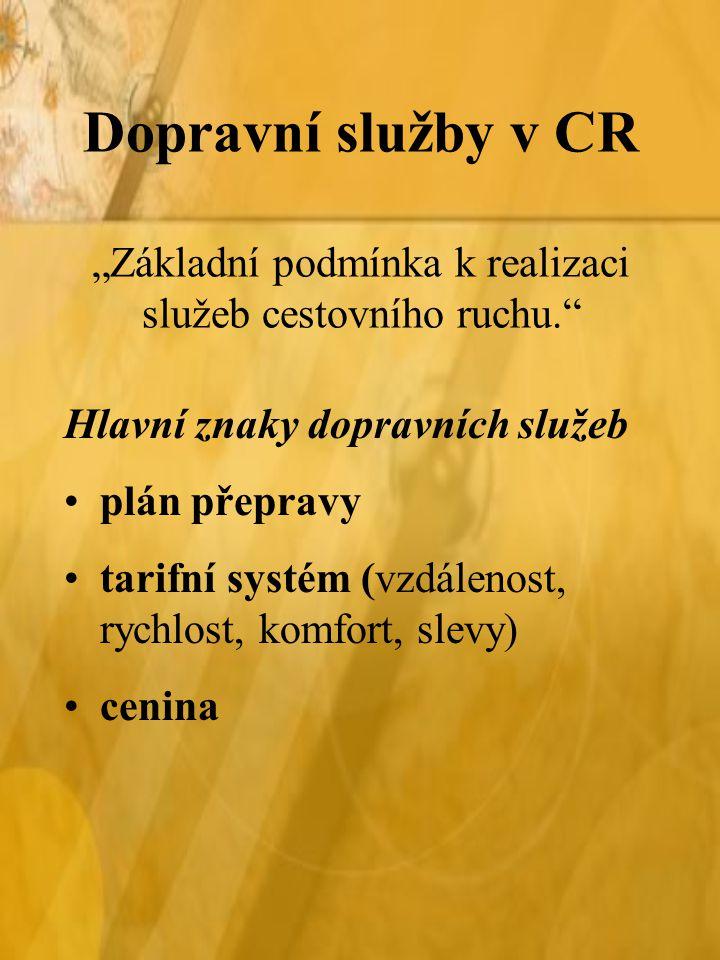 """Dopravní služby v CR """"Základní podmínka k realizaci služeb cestovního ruchu."""