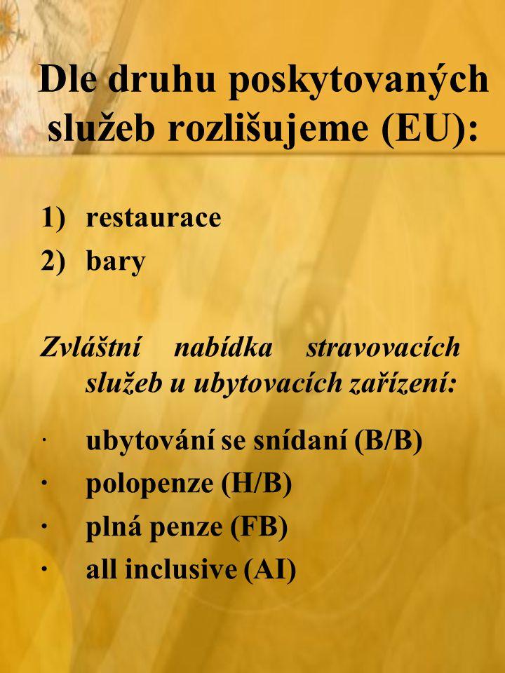 Dle druhu poskytovaných služeb rozlišujeme (EU):