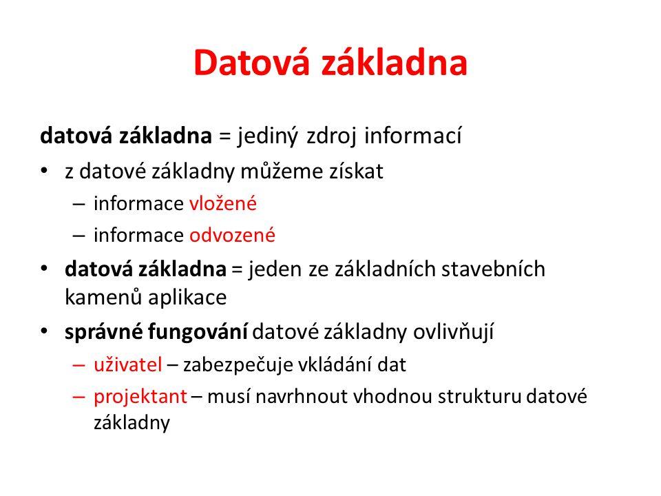 Datová základna datová základna = jediný zdroj informací