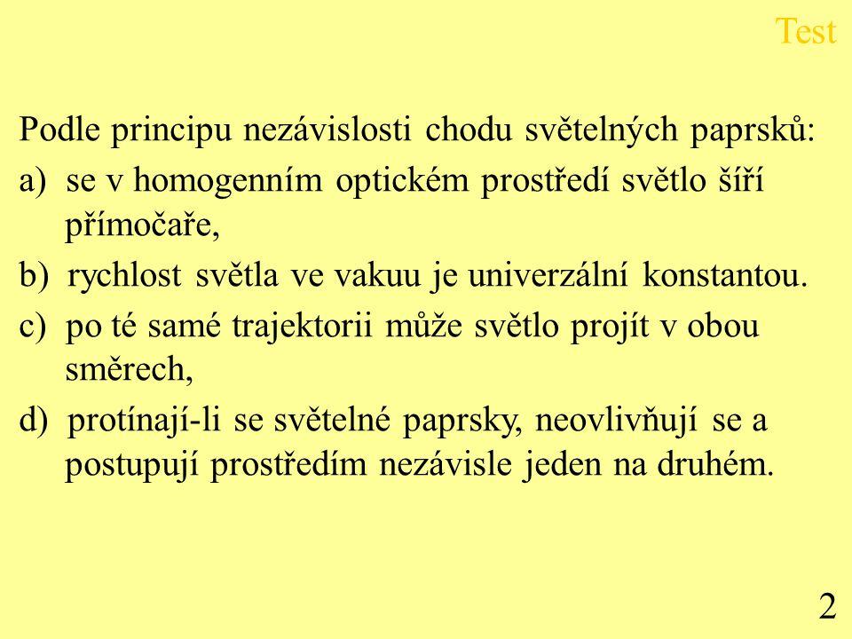 Test 2 Podle principu nezávislosti chodu světelných paprsků: