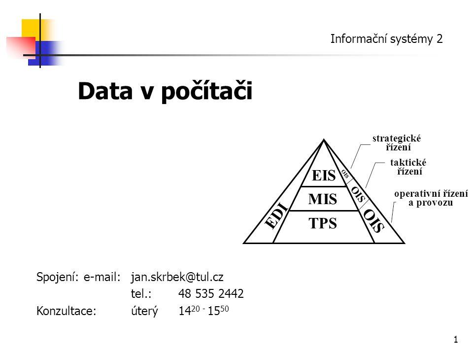 Data v počítači EIS MIS EDI OIS TPS Informační systémy 2