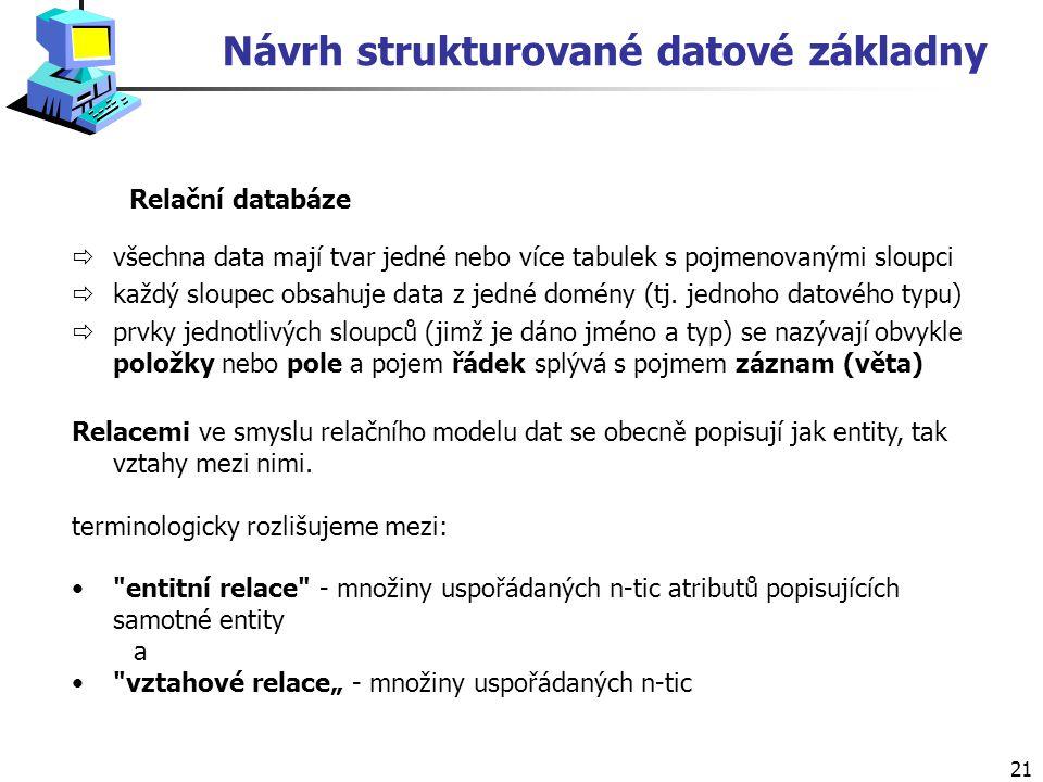 Návrh strukturované datové základny